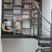 escalier hélicoïdal et plateforme acier et vitrage