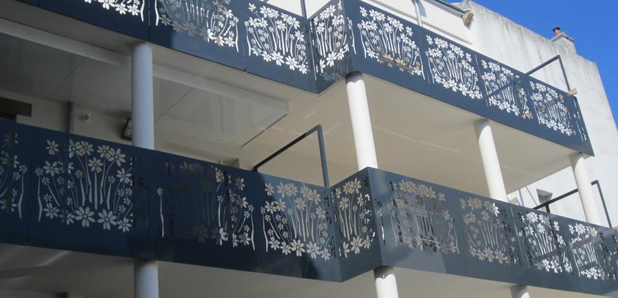 Garde-corps acier avec décoration laser motif floraux